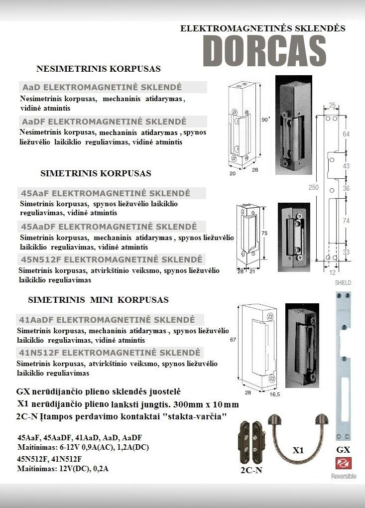 Elektromagnetinės sklendės DORCAS 2 metų garantiją Prologika